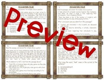 Fortnite, Task Cards, Reading Comprehension, Test Prep