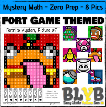 Fortnite Themed Mystery Pictures NO PREP Printables