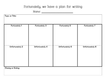"""""""Fortunately"""" creative writing planning sheet and final copy papers"""