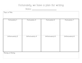 """Fortunately"" creative writing planning sheet and final co"