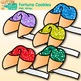 Rainbow Fortune Cookie Clip Art {Chinese New Year Graphics with Glitter}
