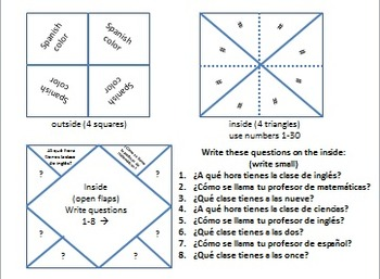 Fortune Teller Speaking Activity for Spanish School Vocabulary (La Escuela)