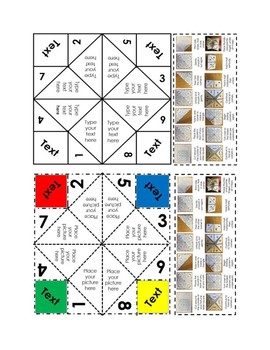 Fortune Teller Cootie Catcher Chatterbox 5 Templates Editable & Handwrite Pack