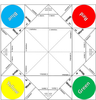 "Fortune Teller / Cootie Catcher Vocabulary Study Tool 8.5"" x 11"" (Letter-Size)"