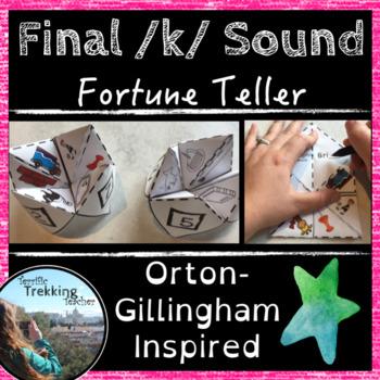 Final /k/ Spelling Fortune Teller Activity - Orton-Gillingham inspired!