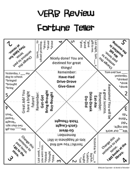 Fortune Teller: Irregular Past Tense Verbs