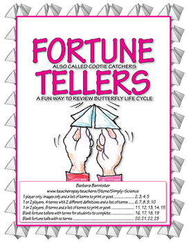 Fortune Teller for Life Cycle of a Butterfly