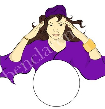 Fortune Teller with Crystal Ball Clip Art