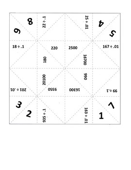 Fortune Tellers for Dividing by Decimals