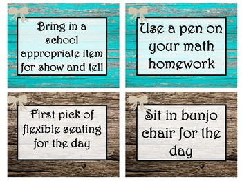 Forty Rustic Wood Themed Editable Classroom Rewards