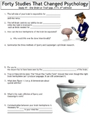 Forty Studies That Changed Psychology Worksheet #1: One Brain or Two?