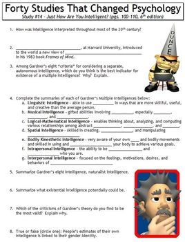 Forty Studies That Changed Psychology Worksheet #14: How Are You Intelligent?