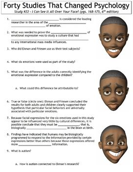 Forty Studies That Changed Psychology Worksheet #22: See It All Over Your Face!