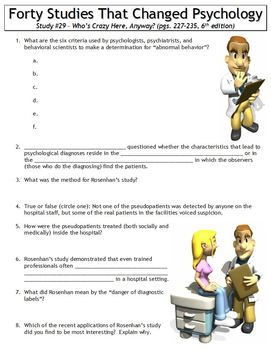 Forty Studies That Changed Psychology Worksheet #29: Who's Crazy Here, Anyway?
