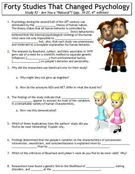"""Forty Studies That Changed Psychology Worksheet #3: Are You a """"Natural""""?"""
