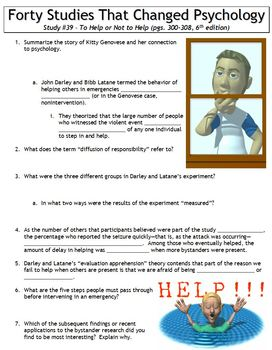 Forty Studies That Changed Psychology Worksheet #39: To Help or Not to Help