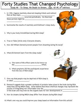Forty Studies That Changed Psychology Worksheet #6: To Sleep, No Doubt to Dream