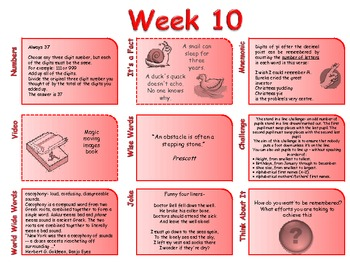 Forty weeks: A collection of learning opportunities for those spare 10 minutes.
