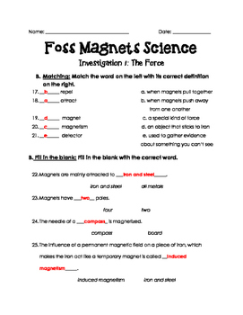 Magnets and Electricity Foss Investigation 1 Assessment