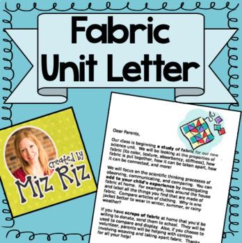 Kindergarten Science Fabric Unit- Intro Letter for Parents
