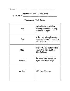 Foss-Sun Unit - Teacher Created Sun Vocabulary Cards