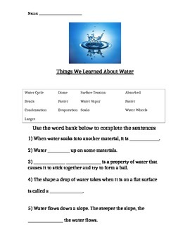 Foss Water Unit- End Of Unit Assessment