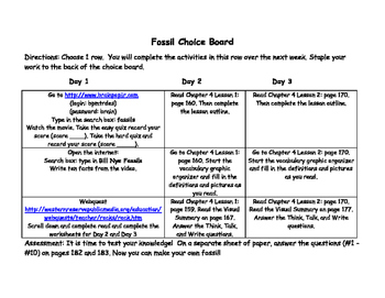 Fossil Choice Board-3rd Grade Science