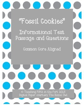 """Fossil Cookies"" Informational Text and Questions Third Grade Science"