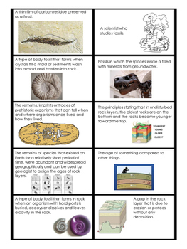 Fossil Cut and Paste Vocabulary