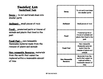Fossil & Fossil Fuel Vocab Pack