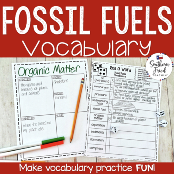 Fossil Fuels Fun Interactive Vocabulary Dice Activity
