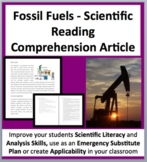 Fossil Fuels - A Science Reading Comprehension Resource - Grade 8 and Up