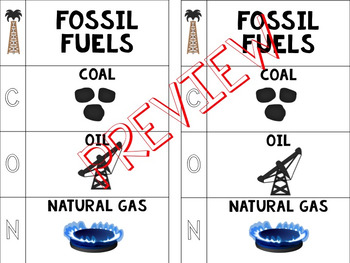 Fossil Fuels Foldable