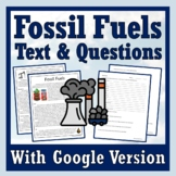 Fossil Fuels Reading Article & Worksheet NGSS ESS3-4 (Climate Change)