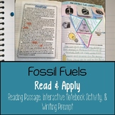Fossil Fuels Reading Comprehension Interactive Notebook