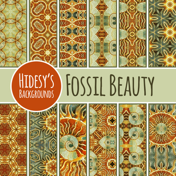 Fossil / Geology Backgrounds / Digital Papers Clip Art Set for Commercial Use