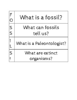 Fossil Vocabulary Flipbook