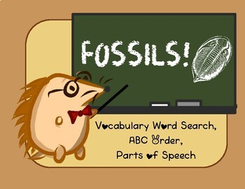Fossil vocabulary word search, ABC order, parts of speech