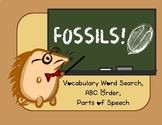 Fossil vocabulary study - word search, ABC order, parts of speech