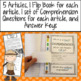Fossils Articles, Flip Books, Comprehension Questions, and Assessment