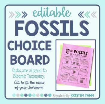 Fossils Choice Board - Editable
