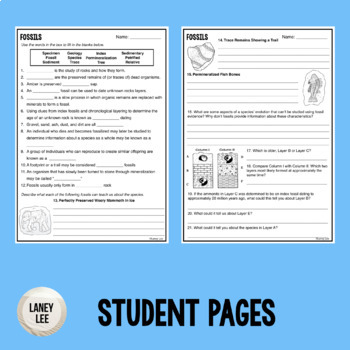 Fossils - Guided Reading + Worksheets