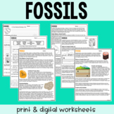 Fossils - Guided Reading + Worksheets - Print & Google Versions