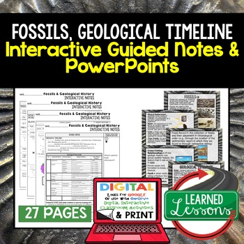 Fossils Guided Notes & PowerPoints NGSS Google, Interactive