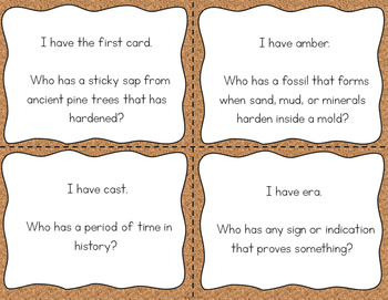 """Fossils Interactive Vocabulary Game """"I Have, Who Has?"""" Cards"""