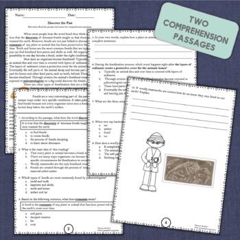 Fossils Nonfiction Reading Comprehension Passages
