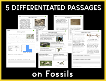 Fossils: Non-Fiction Reading Passages & Questions (NGSS 3-LS4-1)