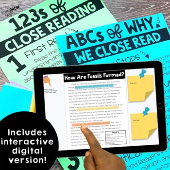 Fossils Reading Comprehension Passages and Questions Close Reading