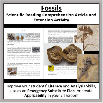 Fossils Reading Comprehension Article - Grade 8 and Up