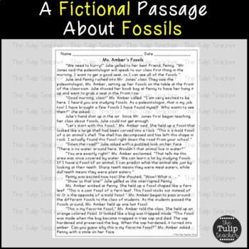 Fossils Reading Comprehension Paired Passages